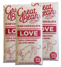 Love Cinnamon & Fig Raw Chocolate – Pack of 3 by the Great Bean on Scoutmob Shoppe. Two aphrodisiacs in a chocolate bar? Yup, best give it to your love.