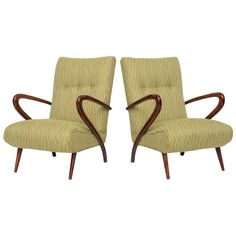 A Pair of Italian Modern Mahogany Armchairs, Style of Guglielmo Ulrich | From a unique collection of antique and modern armchairs at http://www.1stdibs.com/furniture/seating/armchairs/