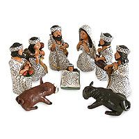 Ceramic nativity scene, 'Amazon Christmas' (set of 9)