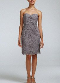 David's Bridal Short Strapless All Over Lace Dress, Style F15620 in Grey. #davidsbridal #grayweddings
