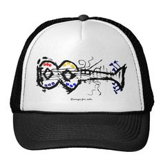 abstract guitar trucker hat