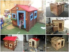 As pictures worth a thousand words, here is a &qout;step by step&qout; tutorial to make a beautiful kid's house from pallets. Information: Here…
