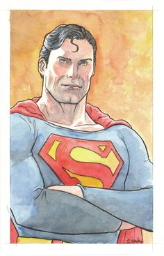 "My mom's been asking me to paint Superman for her.:)I used a photo of Christopher Reeve and kind of ""comic'd"" him up a bit.Watercolors and ink on 5.5x8.5 inch watercolor paper  While this painting is a gift for my mom… you can see other pieces for sale here…  http://www.etsy.com/shop/ScottChristianSava"