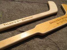 Engraved Wood Hockey Stick Bar Mitzvah Favor by decadentdesigns, $7.00 Hockey Party, Hockey Birthday Parties, 2nd Birthday, Hockey Mom, Ice Hockey, Hockey Stuff, Bar Mitzvah Favors, Goalie Stick, Party Planning