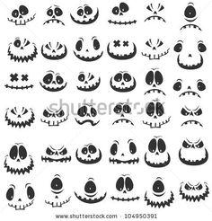 : Big set amusing physiognomies by Alekksall, via ShutterStock decoraciones oficina Big Set Amusing Physiognomies Stock Vector (Royalty Free) 104950391 Halloween Wood Crafts, Spooky Halloween, Holidays Halloween, Halloween Themes, Halloween Pumpkins, Halloween Decorations, Pumpkin Carving Templates, Pumpkin Template, Scary Faces