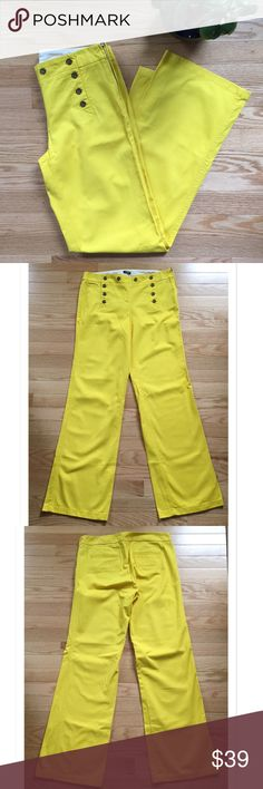"J Crew Factory High Waisted Button Front Pants Gorgeous J Crew High Waisted Pants. Featuring a side zipper, these are 100% cotton. Waist measures 16"" across; Inseam 31"". EUC - no signs of wear. J. Crew Factory Pants Trousers"