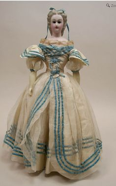 Rare Antique All Original Wax Over Composition Lady Doll Circa 1860's