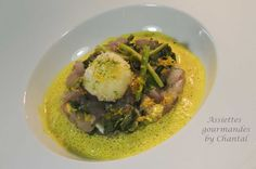 Tartare de bar et huîtres, jus mousseux au curry