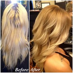 Before and after makeover. Lifeless platinum to rich and dimensional blonde Balayage/ombré.  Soft curls and shiny hair! <3 #Styledbykate at Mecca Salon 916-444-2136 Instagram: @StyledByKate_
