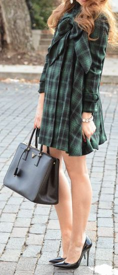 Green + black plaid.