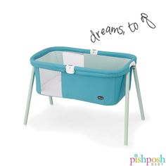 Need a bassinet for baby, at home or on the go? The Chicco USA Lullago has you covered! Lightweight but strong and sturdy, this sleek little thing has mesh peekaboo windows, comfortable mattress, assembles in under a minute, and comes with its own carrying case. Weight capacity: 20 lbs, priced at $99.99. Available in 4 colors (shown: Sky).  http://www.pishposhbaby.com/chicco-lullago-travel-cribs.html