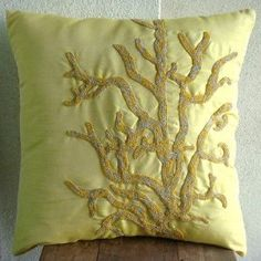 Coral Reef - Decorative Pillow Covers - Silk Pillow Cover with Beads (hate the color, love the design)
