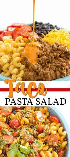 taco pasta salad is loaded with ground beef, juicy tomatoes, black beans an. This taco pasta salad is loaded with ground beef, juicy tomatoes, black beans an. Healthy Recipes, Mexican Food Recipes, Beef Recipes, Cooking Recipes, Cold Pasta Recipes, Recipies, Taco Salad Recipes, Taco Salads, Recipe Pasta