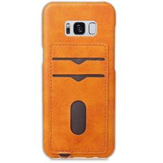 Orange Leather Skin Back Hard Cover with Card Holder For Samsung Galaxy S8