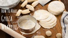 Making gyoza wrappers from scratch is easy and fun, just need salt, water, and flour! For the complete recipe with step-by-step pictures: http://justonecookb...