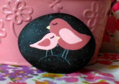 Baby and Momma Bird Stone Art by CheeryGiftsAndDecor on Etsy