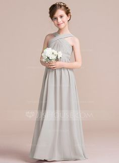 a11d3c81fa A-Line Princess V-neck Floor-Length Ruffle Bow(s) Zipper Up Regular Straps  Sleeveless No Other Colors General Chiffon Junior Bridesmaid Dress