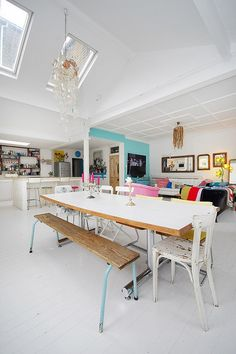open planned living space great use of colour and textiles