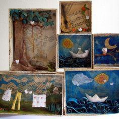 о даче или поездке. Шэдоу-боксы от Марселлы Феррейры, художницы, которая работает в технике папье-маше. Подробнее познакомиться с ее творчеством можно на сайте http://www.marcellaferreira.com #baby_picasso_искусство