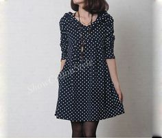 Black  2015 Spring  Women's Hoodies Loose Fitting Cotton Dress Blue Dots Retro England Sweater Long Clothing