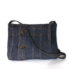 Recycled clothing denim cross body bag upcycled jean by Sisoi More