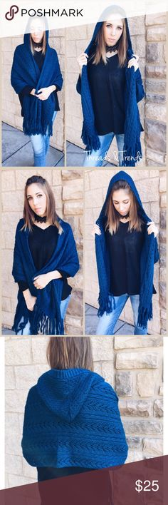 Indigo Hooded Shawl/Wrap Beautiful knit hooded shawl wrap. Fringe detail. Great piece to keep you cozy warm this winter. Also makes a great gift. OSFM Threads & Trends Accessories Scarves & Wraps