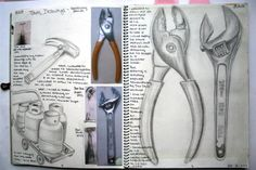 Observational drawings of several different subject matters related to theme.  Photos > Pencil drawings