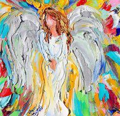Original oil painting Little Angel 6x6 palette by Karensfineart