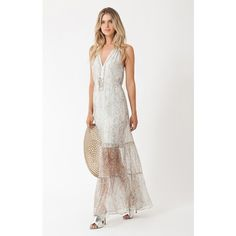 Hale Bob Lilla Halter Maxi ($524) ❤ liked on Polyvore featuring dresses, maxi, taupe, white halter top, halter top maxi dress, beaded maxi dress, halter top and halter dress