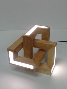 Geometric take lamp made of wood #WoodenLamp