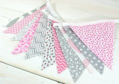 Bunting Fabric Banner, Fabric Flags, Photography Prop, Wedding Decoraion - Pink and Gray Chevron, Dots, Flowers - Ready to Ship