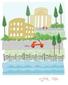 Rome Italy 11x14 city art illustration par confettielove sur Etsy, $20.00