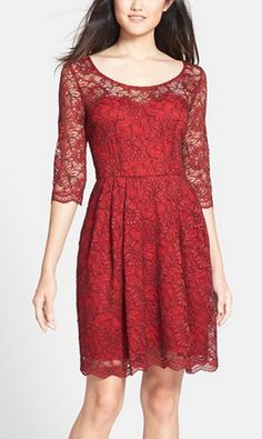 Cranberry lace dress by Betsey Johnson http://rstyle.me/n/r9896n2bn