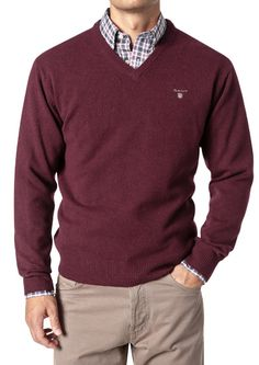 Gant Men s Solid Lambswool V Neck Jumper DK Burgundy Melange