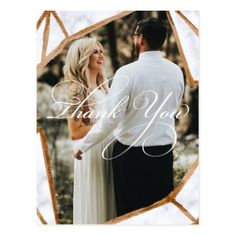 Marble Geometric Photo  Wedding Thank You Card - postcard post card postcards unique diy cyo customize personalize