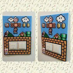 Super Mario switch light frame hama perler beads by ikasuyanto Hama Beads Mario, Perler Bead Mario, Diy Perler Beads, Mario Crafts, Nerd Crafts, Pixel Beads, Fuse Beads, Pearler Bead Patterns, Perler Patterns