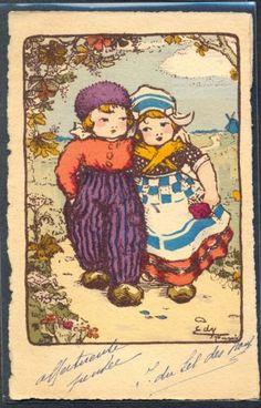 PY123-a-s-EDY-COUPLE-of-CHILDREN-WOODEN-SHOES-Romance