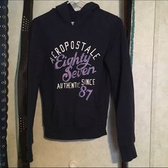 ** LAST CHANCE before it's taken off. ** LAST CHANCE before it's taken off. Navy blue and purple writing, Aeropostale hoodie. Size small. Aeropostale Jackets & Coats