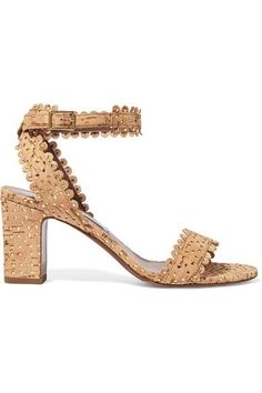 Heel measures approximately 85mm/ 3.5 inches Beige cork, gold leather  Buckle-fastening ankle strap  Made in Italy
