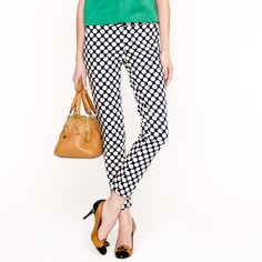 """J Crew Cafe Capri Pop Art Polka Dot Size 0 J Crew Cafe Capri Pants in Pop Art Polka Dot.  Size 0.  The first 2 pictures are from J Crew website.  These pants are super cute, I wore them maybe 3 or 4 times, they're in good condition.  There is a black line drawn thru the J Crew tag as pictured.  These are more of a washed-navy than the J Crew pictures depict and that is the way I bought them from J Crew, their picture just shows them brighter.  Let me know if you have any questions! 26.5""""…"""