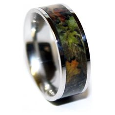 Camo Wedding Ring - Hunting Wedding Band - Titanium Camouflage Ring