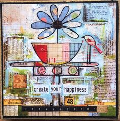 Create Happiness - Print on wood plaque