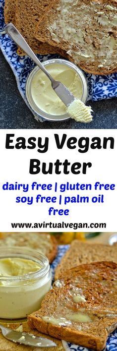 If you love butter but hate the ingredients in store bought dairy free versions then this recipe is the answer to your prayers. It is dreamily smooth, rich & creamy & can be whipped up in minutes. It is also palm oil & emulsifier free & can be used in any way you would use real butter! Vegan Butter Substitute, Dairy Free Butter Recipe, Lactose Free Butter, Dairy Free Dip Recipes, Dairy Free Meals, Dairy Free Alternatives, Dairy Free Dips, Dairy Free Sauces, Dairy Free Muffins