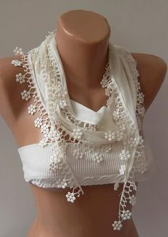 Ivory Beige and Elegance Shawl / Scarf with Lace Edge by womann, $13.90. I really want one!