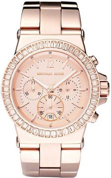 Michael Kors Watch, Women's Chronograph Dylan Rose Gold-Tone Stainless Steel Bracelet 43mm MK5412 on shopstyle.com