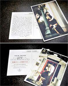 postcard wedding invitations...simple and cute!