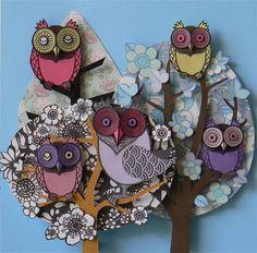 Paper cutouts #owls #trees #nature
