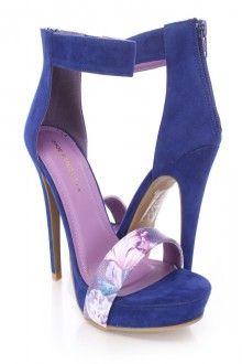 Blue Floral Strap Open Toe High Heels Faux Suede