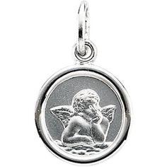 14K White Gold 10.00 Round Angel Pendant Medal