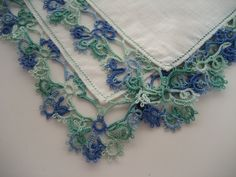 tatted lace edging handkerchief blue, teal
